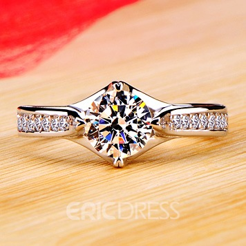 Delicate Round Cut NSCD Diamond D1.00 ct Promise/Wedding Ring