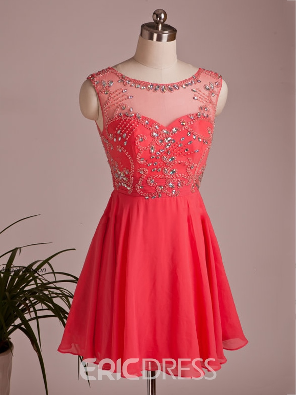 Ericdress Jewel Neck A-Line Beaded Short Homecoming Dress