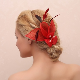 Exaggerating Red Flower Decorated Hair Clip