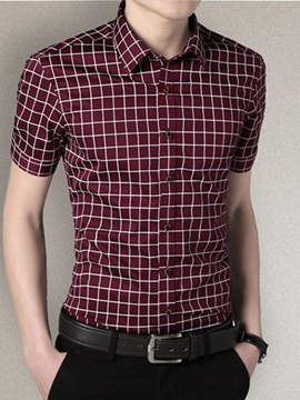 Ericdress Short Sleeve Plaid Casual Men's Shirt