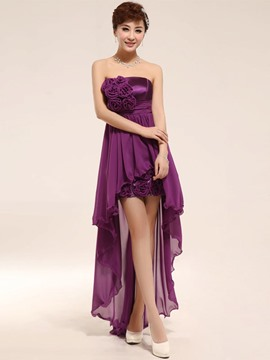 Ericdress Unique Strapless Flowers Asymmetry Bridesmaid Dress