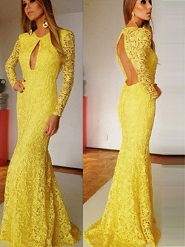 Ericdress Long Sleeve Sheath Lace Evening Dress