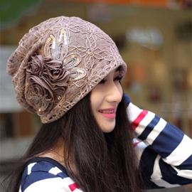 Unique Flower Pattern Decorated Hat for Autumn
