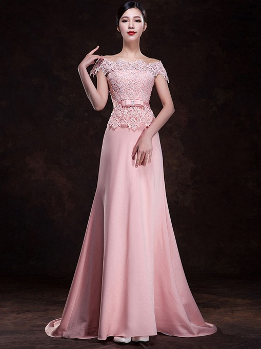 Ericdress Pretty Off the Shoulder Sweep Train Lace Bridesmaid Dress