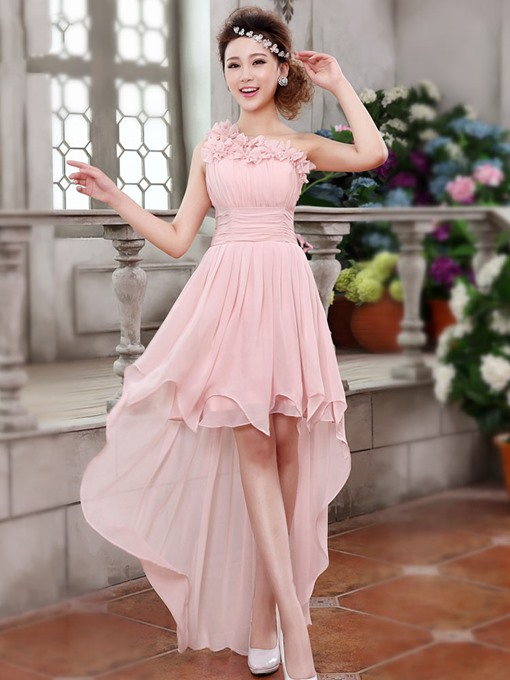 Ericdress One Shoulder Flowers Asymmetry Bridesmaid Dress