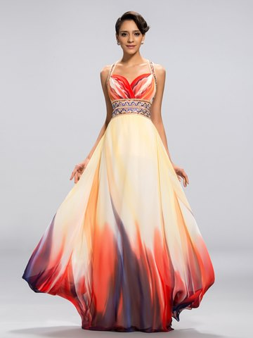Sexy A-line Straps Printing Floor Length Evening Dress