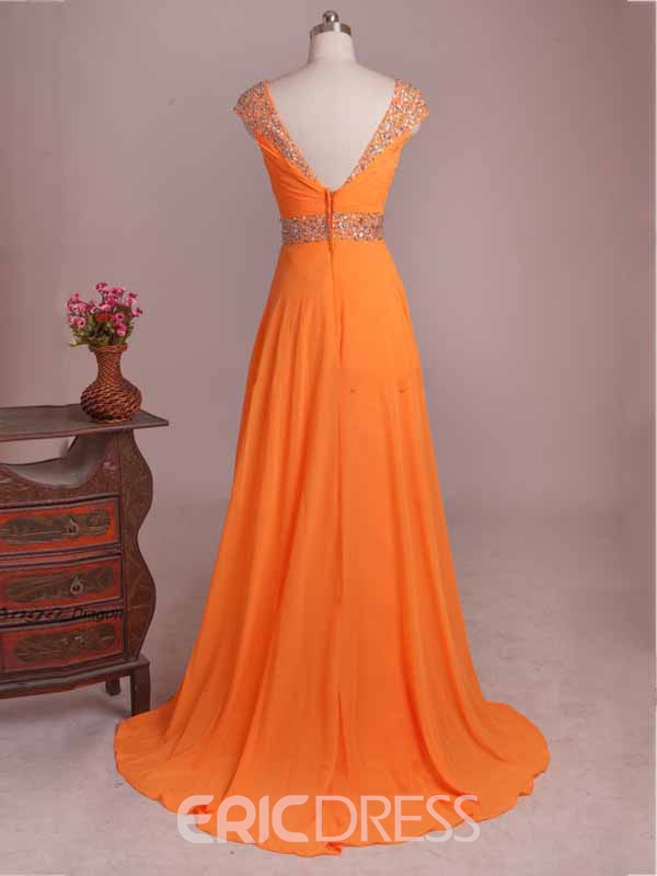 Ericdress Cap Sleeve Beaded Ruches A-Line Long Evening Dress