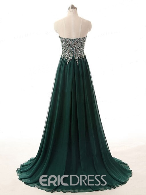 Ericdress Sweetheart Zipper-Up Sweep Train Beaded Evening Dress