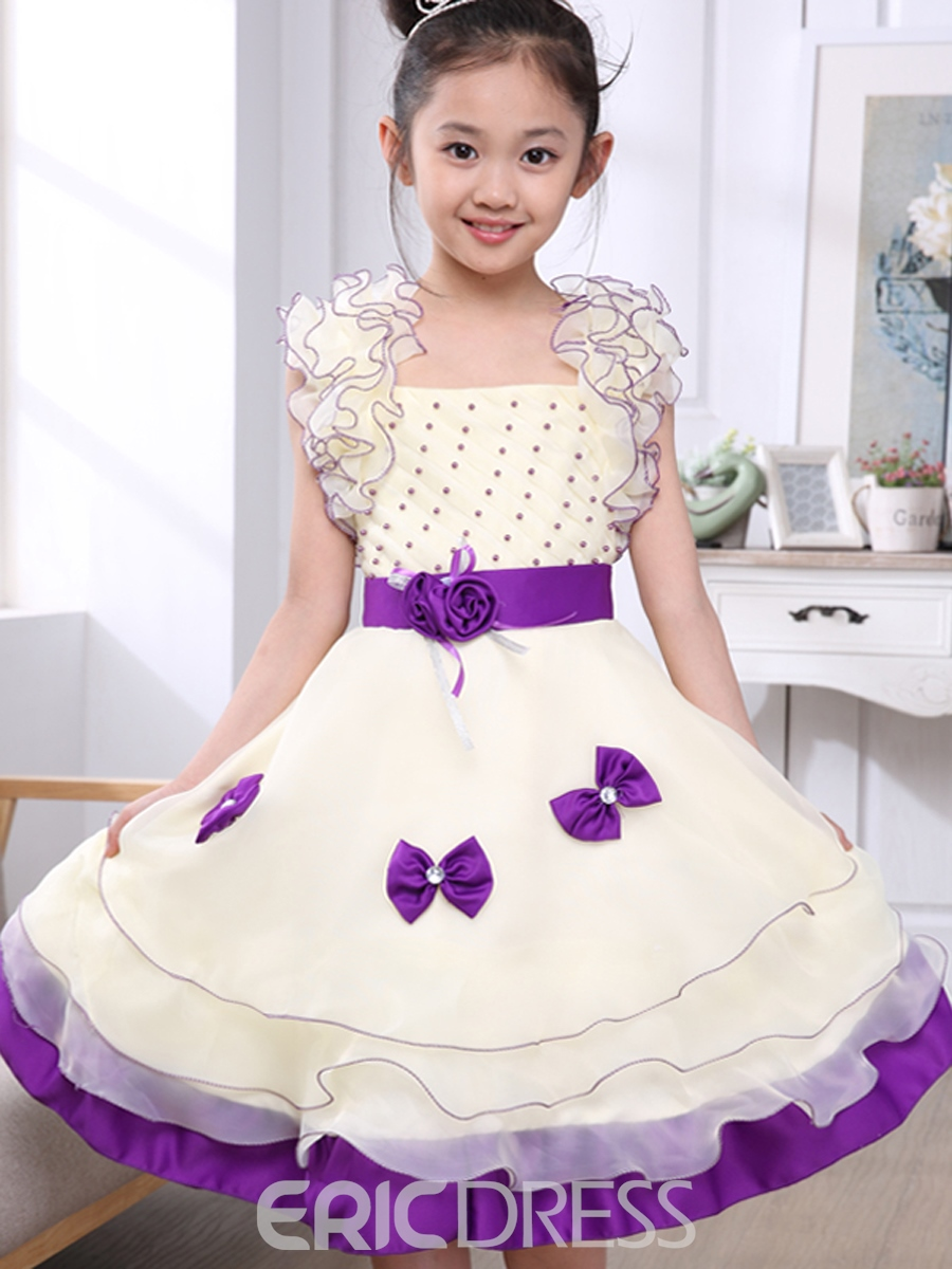 Ericdress Bowknot Bead Decorated Girls Dress