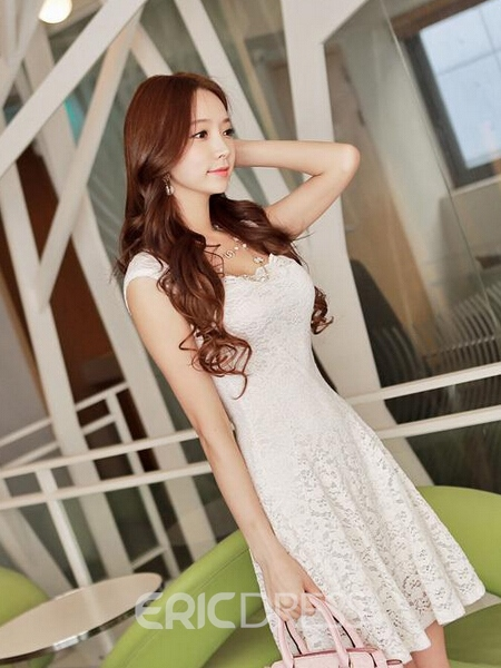 Ericdress Square Neck Lace Casual Dress