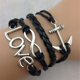 Love & Anchor Decorated Infinity Bracelet