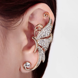Butterfly Shaped Starry Rhinestone Decorated Ear Cuff