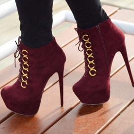 Red Lace-up High-heel Boots