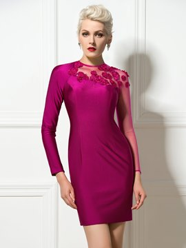 Ericdress Jewel Neck Long Sleeve Sheath Cocktail Dress