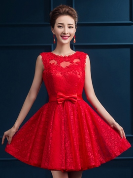 Ericdress Scoop A-Line Bowknot Lace Short Homecoming Dress