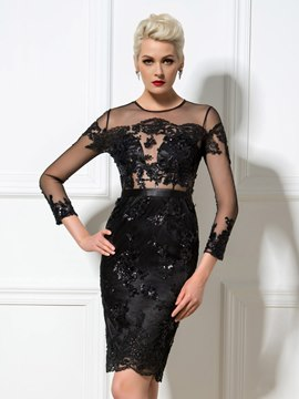 Ericdress Long Sleeves Sequins Knee-Length Cocktail Dress