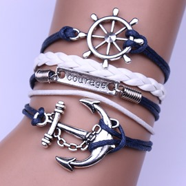 Multi-layer Anchor Decorated Leather Bracelet