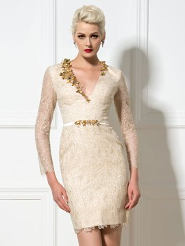 Ericdress Long Sleeve V-Ausschnitt Perlen Lace Cocktail Etuikleid