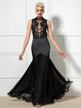Ericdress High Neck Appliques Open Back Long Mermaid Evening Dress