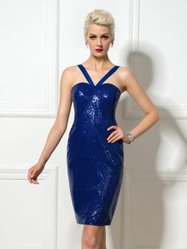 Ericdress Halter Sequins Short/Mini Sheath Cocktail Dress