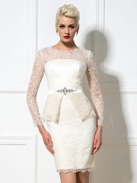 Ericdress Long Sleeves Lace Rhinestone Cocktail Dress