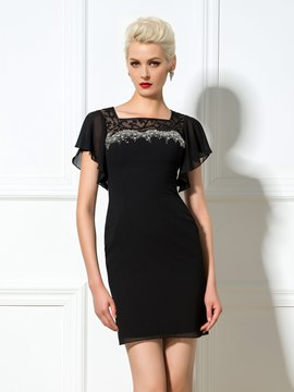 Ericdress Square Neck Beaded Sheath Cocktail Dress