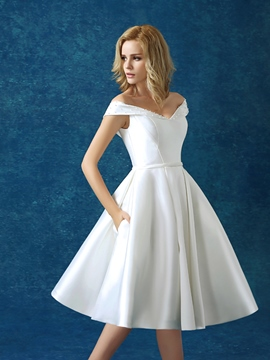 ericdress off-the-shoulder-wulstiges Schnür-Cocktailkleid