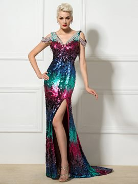 Ericdress V-Neck Multi-Color Sequins Side-Split Long Evening Dress
