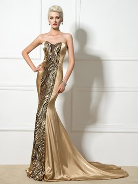 Ericdress Sweetheart Sequins Court Train Long Mermaid Evening Dress