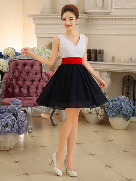 Ericdress V-Neck A-Line Ribbon Short Homecoming Dress
