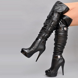 Ericdress Black Cool Buckles Knee High Boots