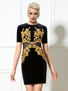 Ericdress Short Sleeve Appliques Sheath Cocktail Dress