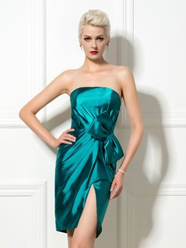 Ericdress Strapless Side-Split Sheath Cocktail Dress
