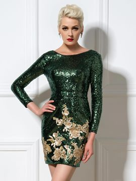 Ericdress longues manches robe de Cocktail paillettes