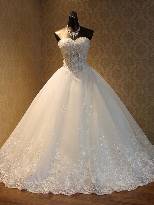 Ericdress Appliques Sweetheart Sequins Ball Gown Wedding Dress