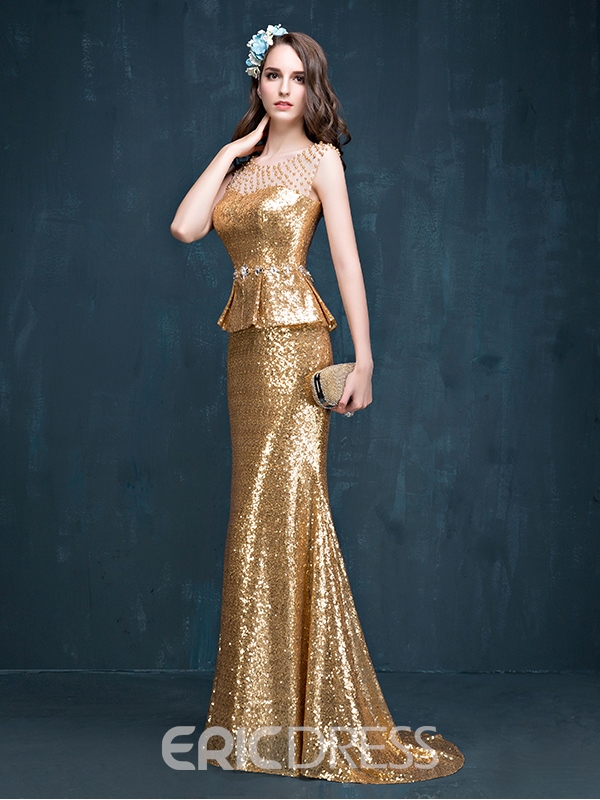 Ericdress Mermaid Peplum Beading Brush Train Evening Dress
