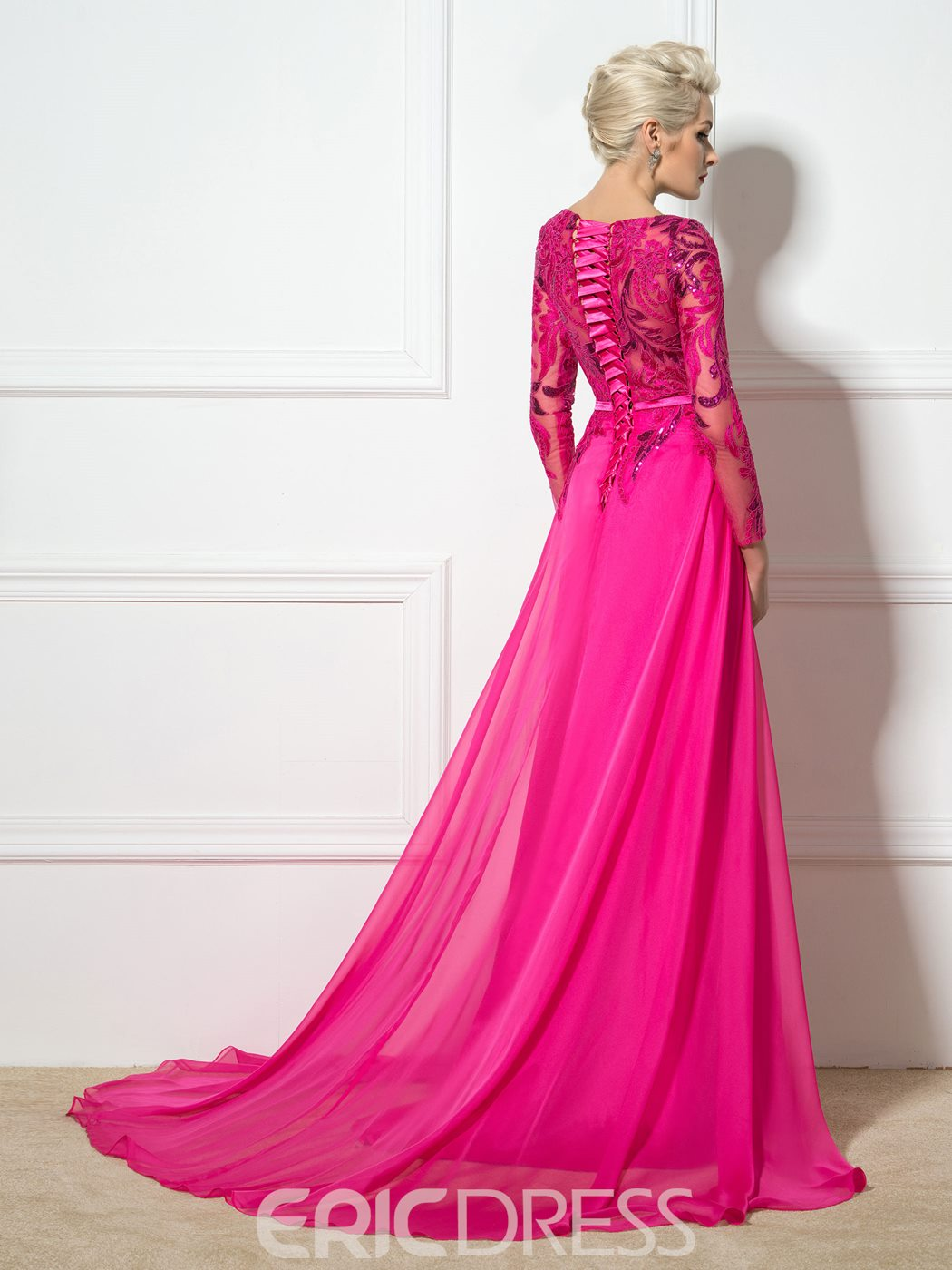 Ericdress Long Sleeve Side-Split Appliques Sequins Evening Dress