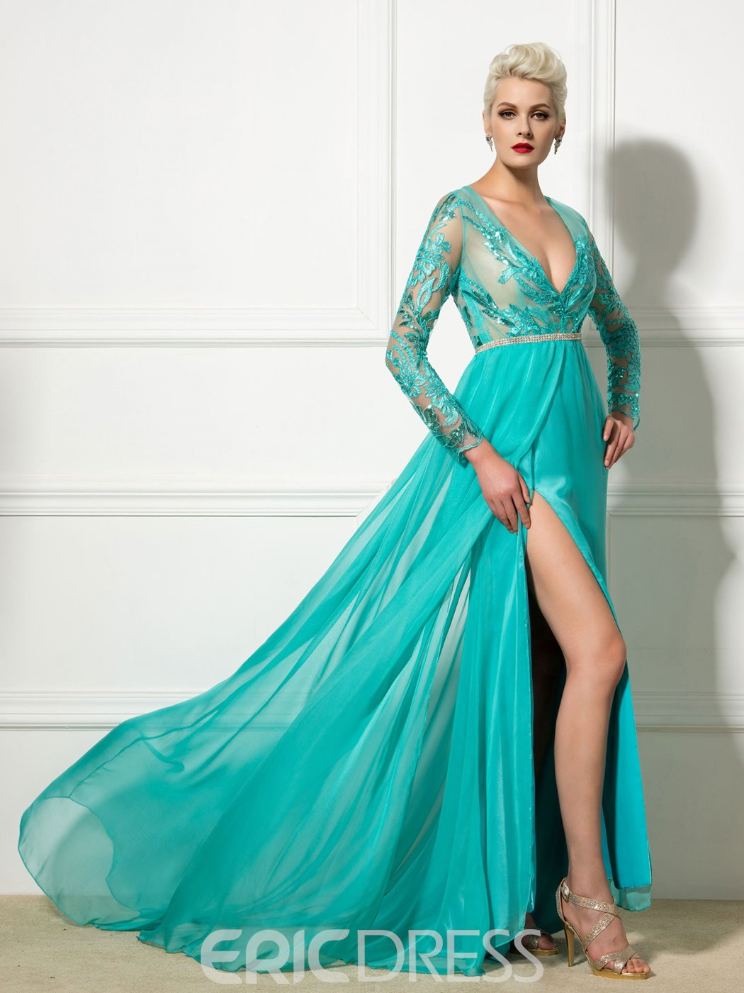 Ericdress Long Sleeve V-Neck Appliques Side-Split Evening Dress