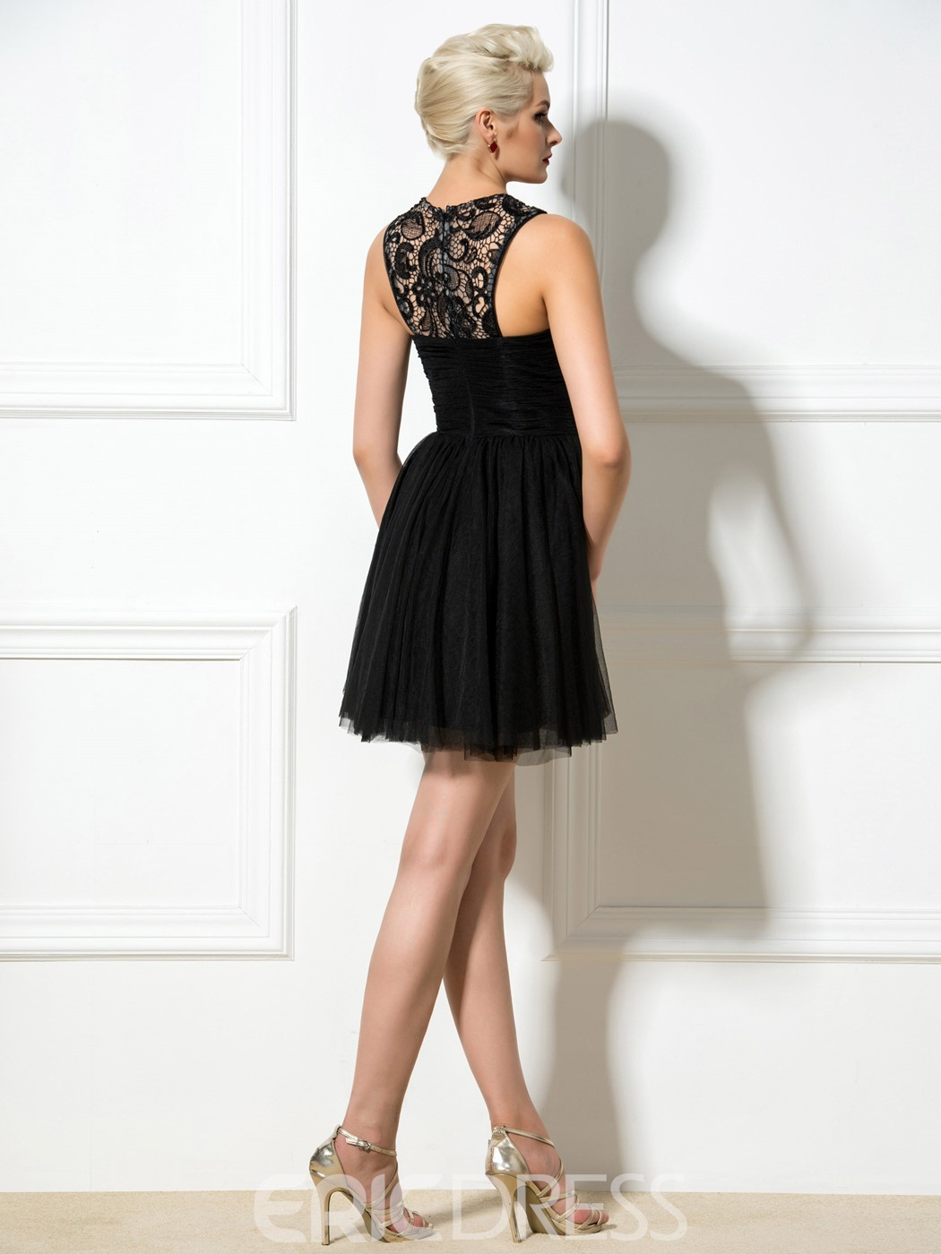 Ericdress Jewel Neck A-Line Lace Beaded Short Cocktail Dress