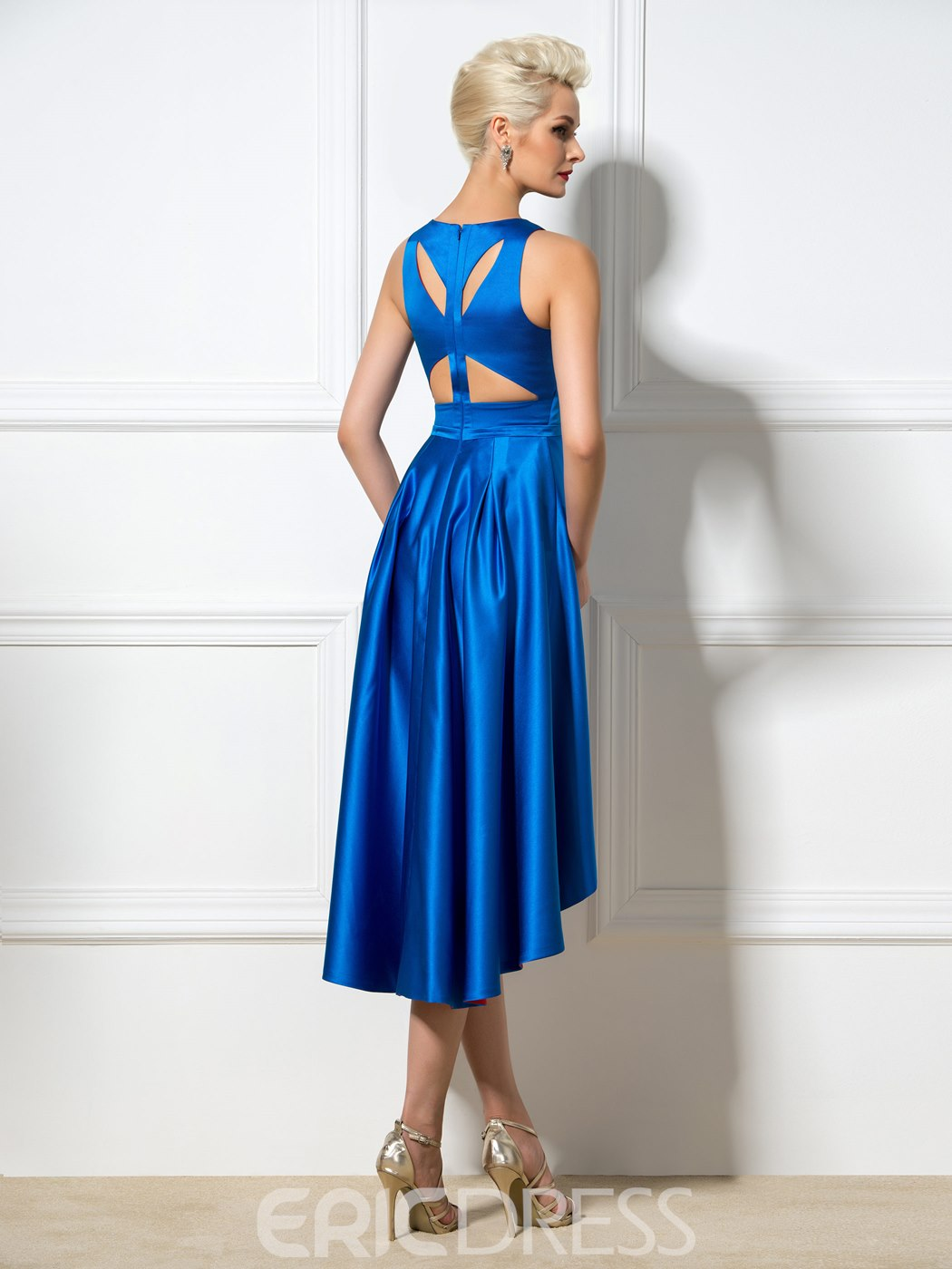 Ericdress Hollow-Out Back Aasymmetric Length Cocktail Dress