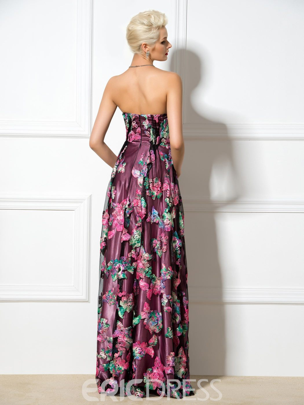 Ericdress A-Line Sweetheart Long Floral Print Prom Dress