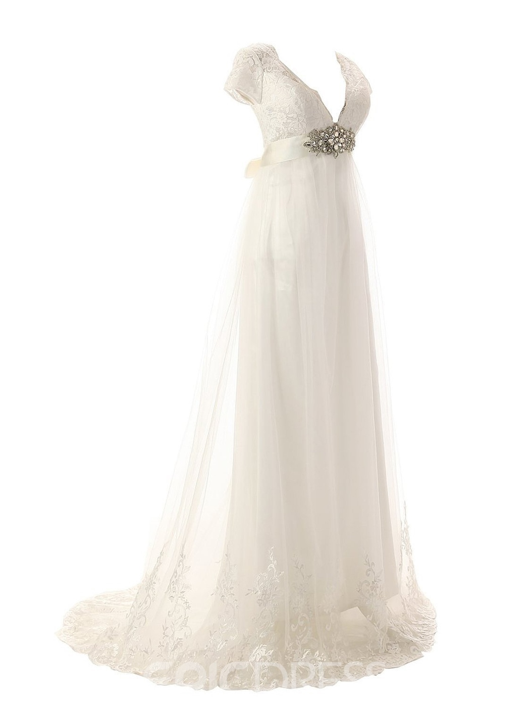 Ericdress Beautiful V Neck Cap Sleeves A Line Wedding Dress
