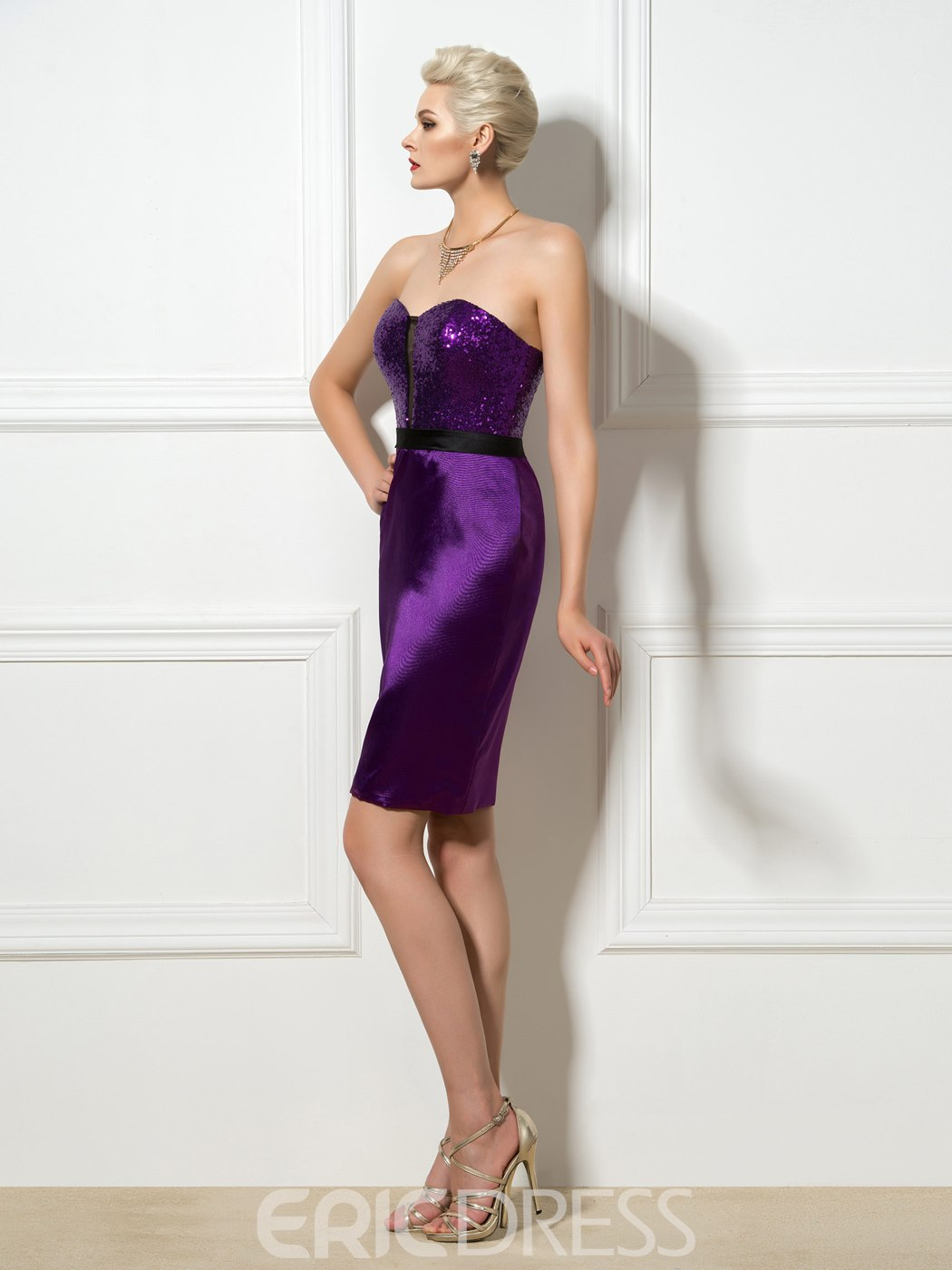Ericdress Sweetheart Sequins Ribbon Sheath Cocktail Dress