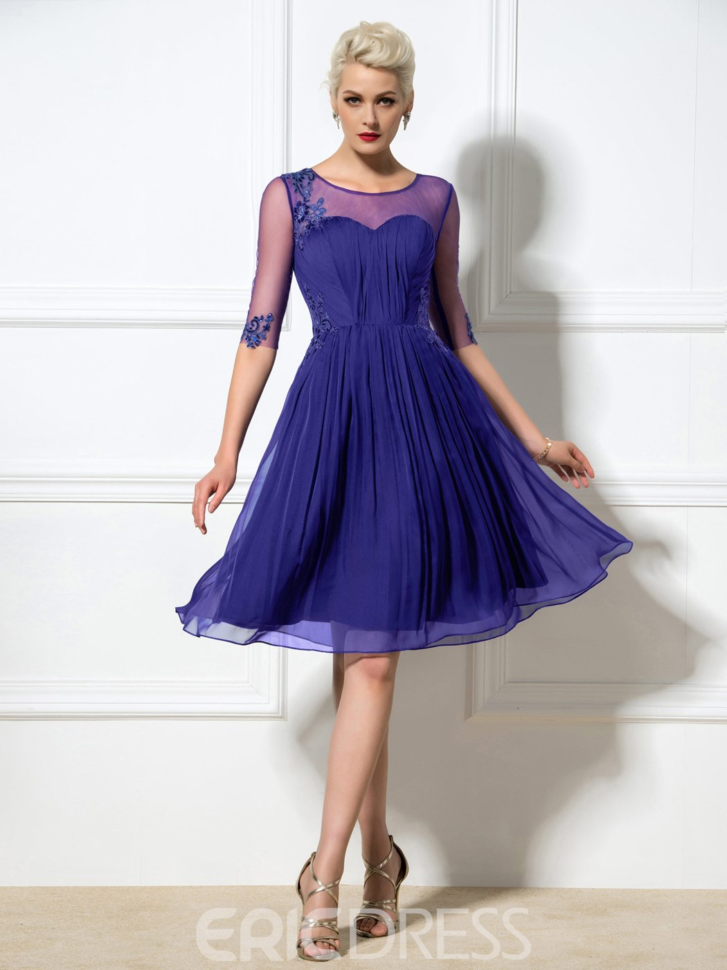 Ericdress A-Line Appliques Beaded Half Sleeve Cocktail Dress