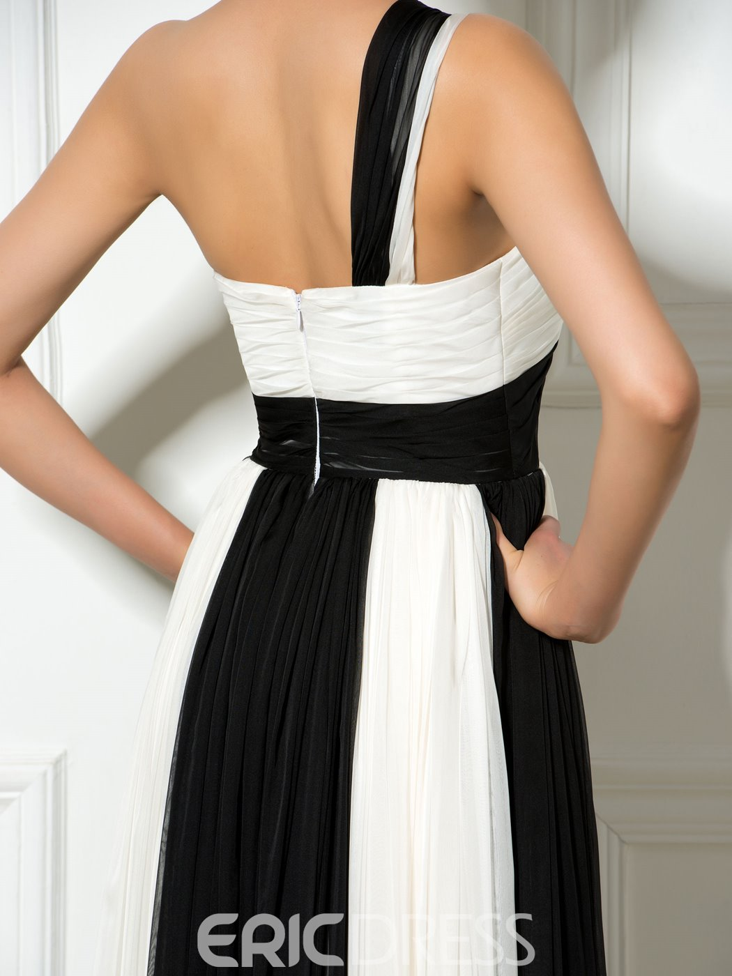 Ericdress One-Shoulder Contrast Color Long Prom Dress