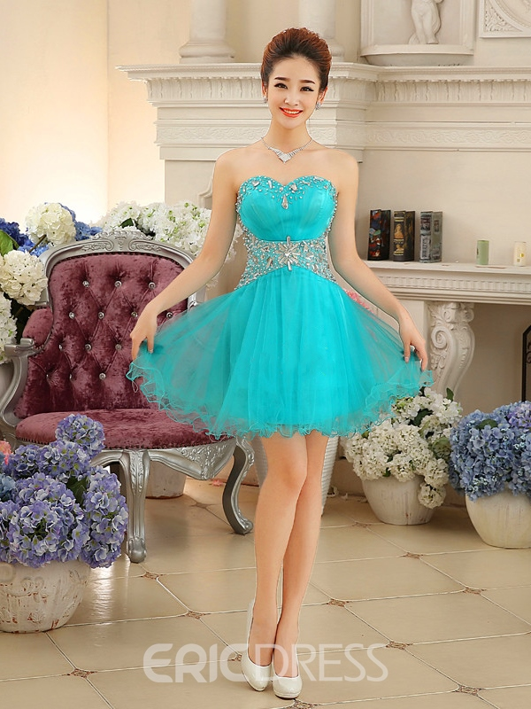 Ericdress Sweetheart A-Line Beaded Ruffles Short Homecoming Dress
