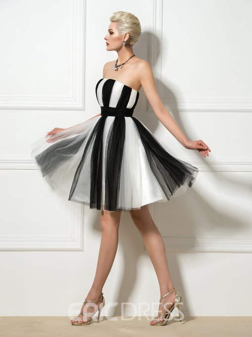 Ericdress A-Line Strapless Contrast Color Cocktail Dress