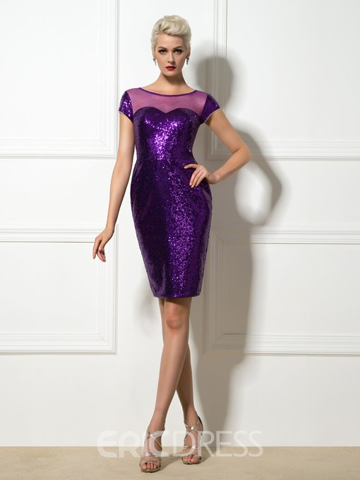 Ericdress Sequins Sheer Neck Sheath Cocktail Dress