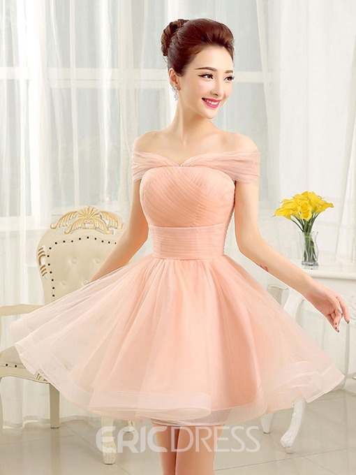 Ericdress Off-The-Shoulder Pleats A-Line Homecoming Dress