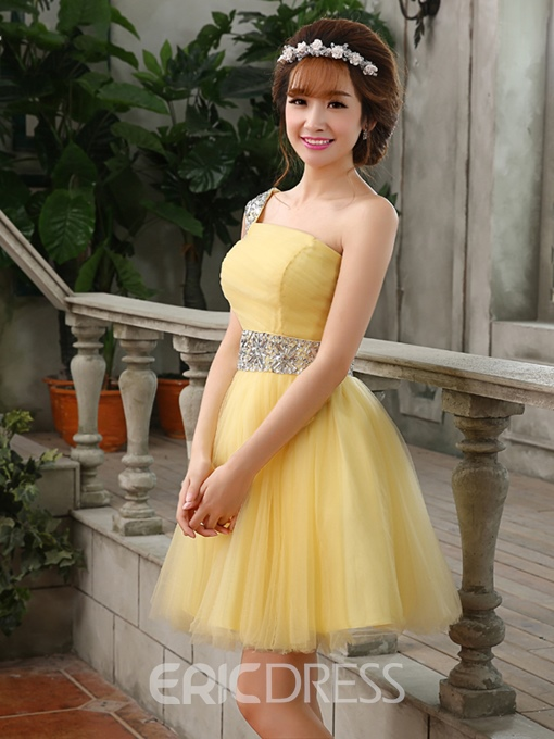Ericdress A-Line One-Shoulder Beaded Short Homecoming Dress